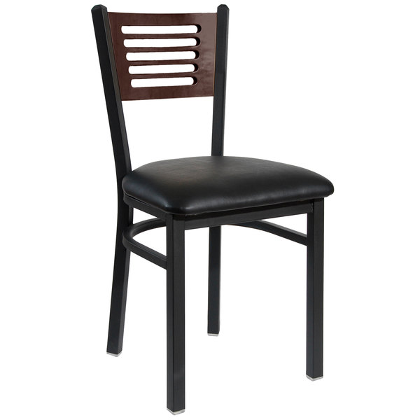"""BFM Seating 2151CBLV-WASB Espy Sand Black Metal Side Chair with Walnut Wooden Back and 2"""" Black Vinyl Seat Main Image 1"""