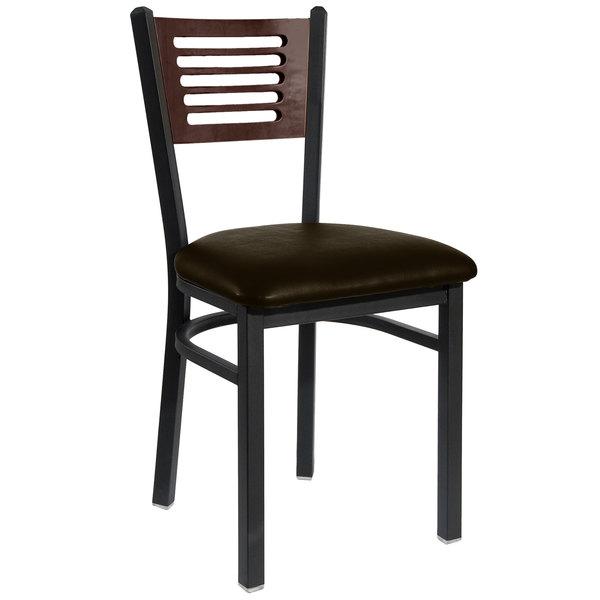 "BFM Seating 2151CDBV-WASB Espy Sand Black Metal Side Chair with Walnut Wooden Back and 2"" Dark Brown Vinyl Seat"