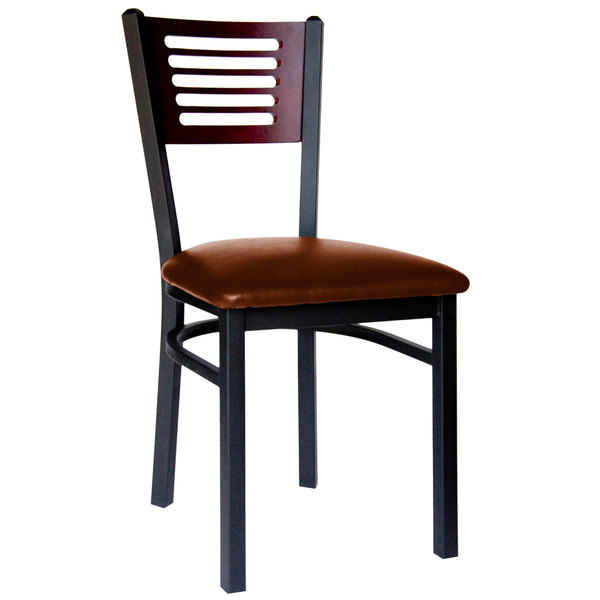 """BFM Seating 2151CLBV-MHSB Espy Sand Black Metal Side Chair with Mahogany Wooden Back and 2"""" Light Brown Vinyl Seat"""