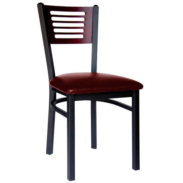 "BFM Seating 2151CBUV-MHSB Espy Sand Black Metal Side Chair with Mahogany Wooden Back and 2"" Burgundy Vinyl Seat"