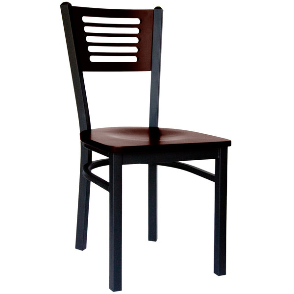 BFM Seating 2151CWAW-WASB Espy Sand Black Metal Side Chair with Walnut Wooden Back and Seat