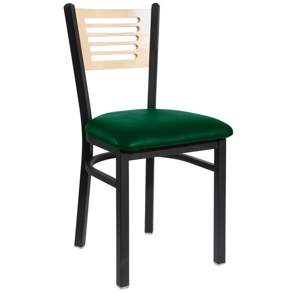 """BFM Seating 2151CGNV-NTSB Espy Sand Black Metal Side Chair with Natural Wooden Back and 2"""" Green Vinyl Seat"""