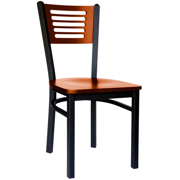 BFM Seating 2151CCHW-CHSB Espy Sand Black Metal Side Chair with Cherry Wooden Back and Seat
