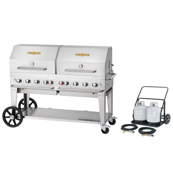 """Crown Verity MCC-60RDP 60"""" Mobile Outdoor Cart Grill with 2 Vertical Propane Tanks and Roll Dome Package Main Image 1"""