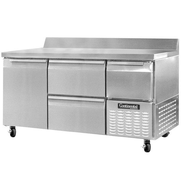 "Continental Refrigerator CRA60-BS-D 60"" Extra-Deep Worktop Refrigerator with Two Drawers, One Full Door, and One Half Door - 19 cu. ft."