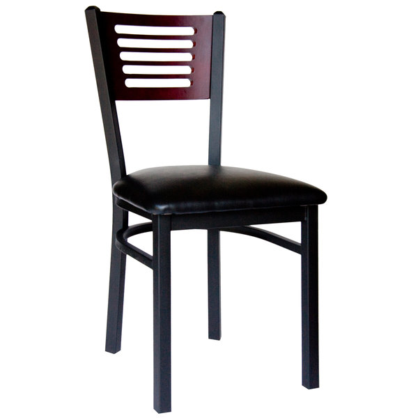 "BFM Seating 2151CBLV-MHSB Espy Sand Black Metal Side Chair with Mahogany Wooden Back and 2"" Black Vinyl Seat Main Image 1"