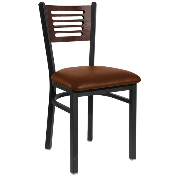 "BFM Seating 2151CLBV-WASB Espy Sand Black Metal Side Chair with Walnut Wooden Back and 2"" Light Brown Vinyl Seat"