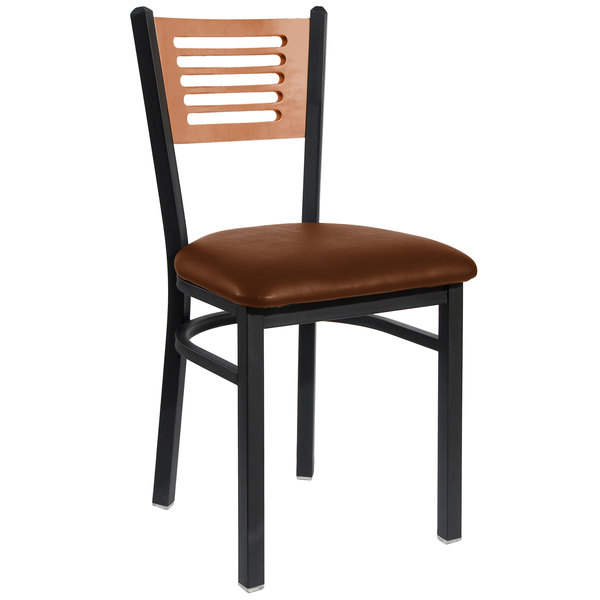 "BFM Seating 2151CLBV-CHSB Espy Sand Black Metal Side Chair with Cherry Wooden Back and 2"" Light Brown Vinyl Seat"
