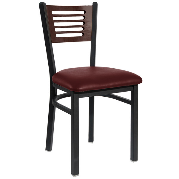 "BFM Seating 2151CBUV-WASB Espy Sand Black Metal Side Chair with Walnut Wooden Back and 2"" Burgundy Vinyl Seat Main Image 1"
