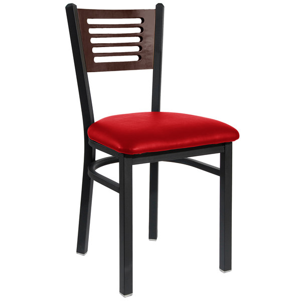 """BFM Seating 2151CRDV-WASB Espy Sand Black Metal Side Chair with Walnut Wooden Back and 2"""" Red Vinyl Seat"""