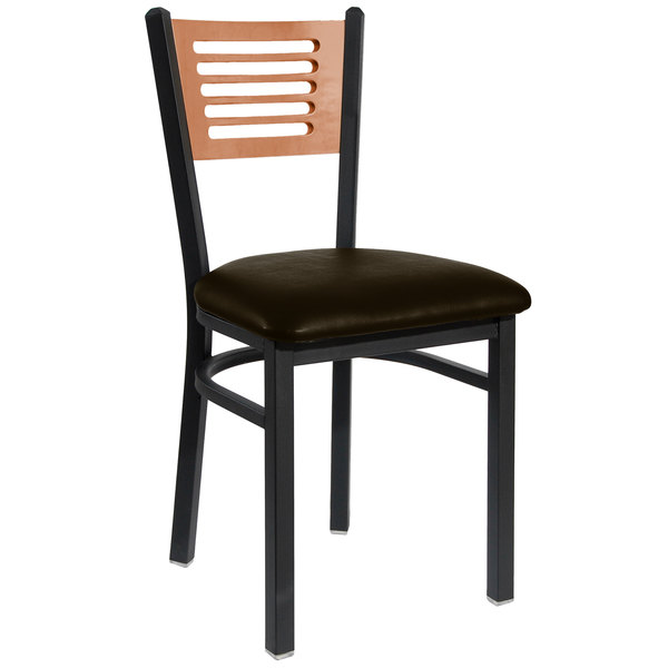 "BFM Seating 2151CDBV-CHSB Espy Sand Black Metal Side Chair with Cherry Wooden Back and 2"" Dark Brown Vinyl Seat Main Image 1"