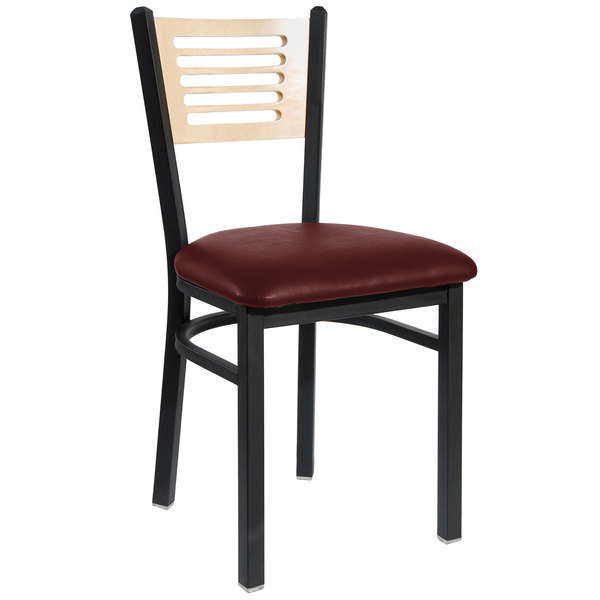 "BFM Seating 2151CBUV-NTSB Espy Sand Black Metal Side Chair with Natural Wooden Back and 2"" Burgundy Vinyl Seat Main Image 1"