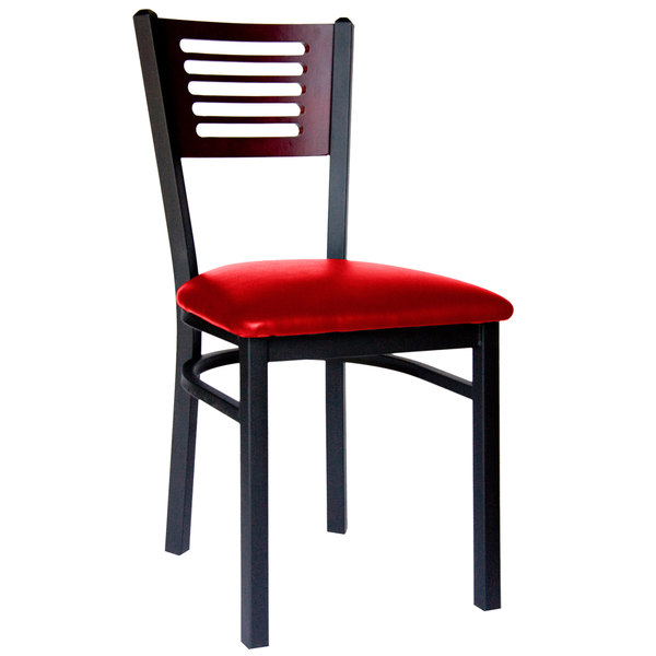 "BFM Seating 2151CRDV-MHSB Espy Sand Black Metal Side Chair with Mahogany Wooden Back and 2"" Red Vinyl Seat"