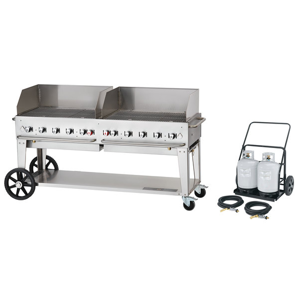 """Crown Verity MCC-72WGP 72"""" Mobile Outdoor Cart Grill with 2 Vertical Propane Tanks and Wind Guard Package Main Image 1"""
