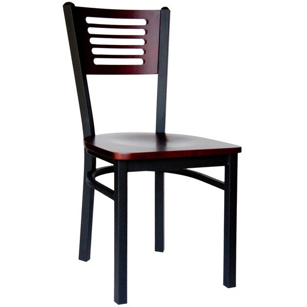 BFM Seating 2151CMHW-MHSB Espy Sand Black Metal Side Chair with Mahogany Wooden Back and Seat Main Image 1