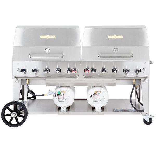 """Crown Verity CCB-72RDP 72"""" Outdoor Club Grill with 2 Horizontal Propane Tanks and Roll Dome Package Main Image 1"""