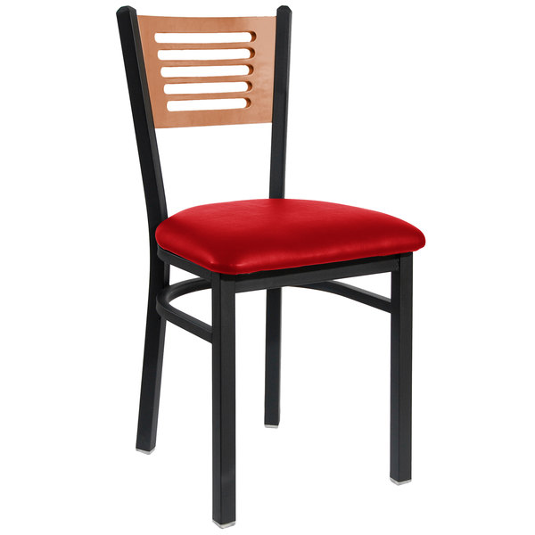 """BFM Seating 2151CRDV-CHSB Espy Sand Black Metal Side Chair with Cherry Wooden Back and 2"""" Red Vinyl Seat"""