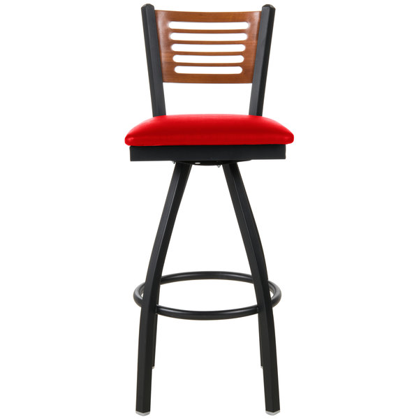 "BFM Seating 2151SRDV-CHSB Espy Sand Black Metal Bar Height Chair with Cherry Wooden Back and 2"" Red Vinyl Swivel Seat"