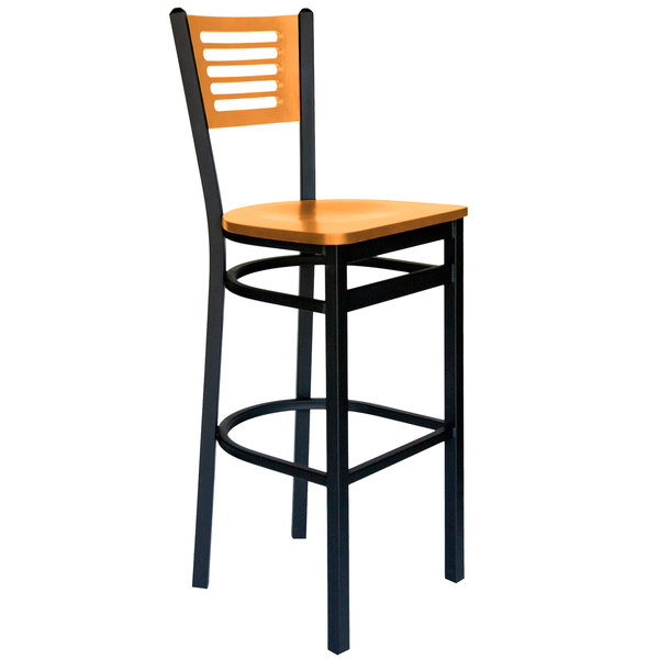 BFM Seating 2151BNTW-NTSB Espy Sand Black Metal Bar Height Chair with Natural Wooden Back and Seat