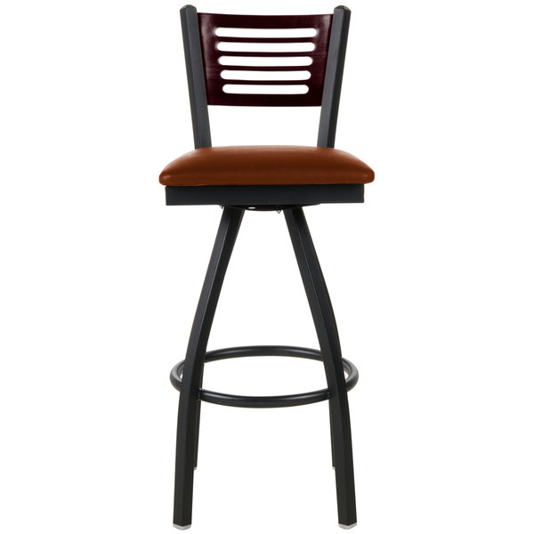 """BFM Seating 2151SLBV-MHSB Espy Sand Black Metal Bar Height Chair with Mahogany Wooden Back and 2"""" Light Brown Vinyl Swivel Seat"""