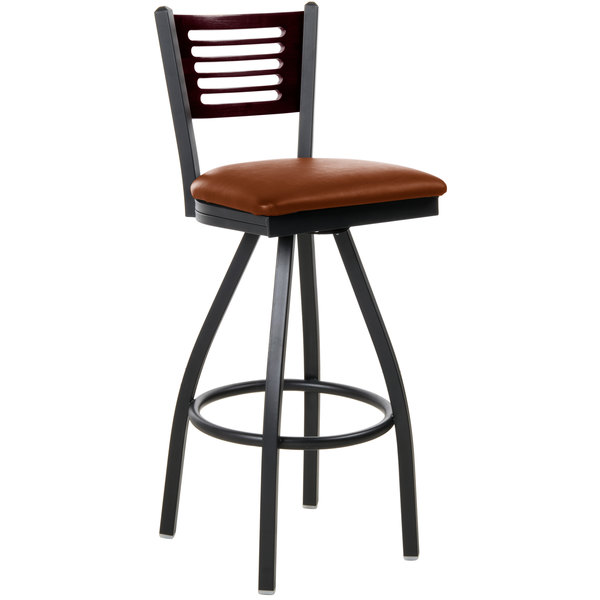 """BFM Seating 2151SLBV-MHSB Espy Sand Black Metal Bar Height Chair with Mahogany Wooden Back and 2"""" Light Brown Vinyl Swivel Seat Main Image 1"""