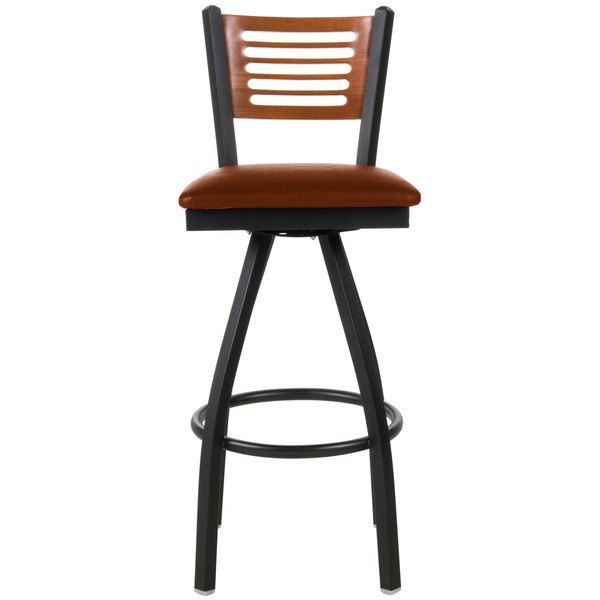 "BFM Seating 2151SLBV-CHSB Espy Sand Black Metal Bar Height Chair with Cherry Wooden Back and 2"" Light Brown Vinyl Swivel Seat"