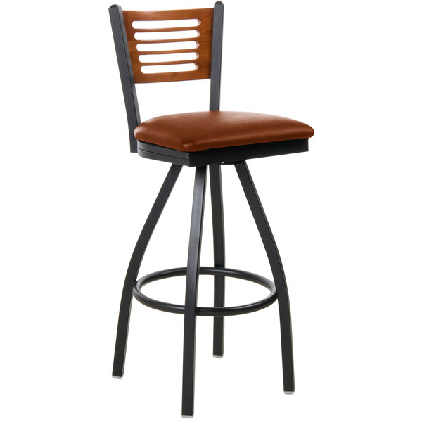 "BFM Seating 2151SLBV-CHSB Espy Sand Black Metal Bar Height Chair with Cherry Wooden Back and 2"" Light Brown Vinyl Swivel Seat Main Image 1"