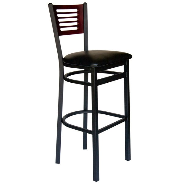 """BFM Seating 2151BBLV-MHSB Espy Sand Black Metal Bar Height Chair with Mahogany Wooden Back and 2"""" Black Vinyl Seat"""