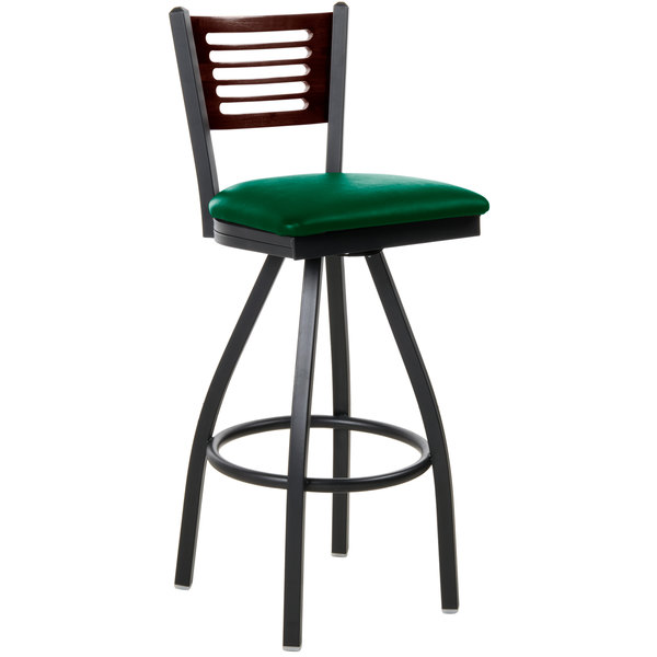 """BFM Seating 2151SGNV-WASB Espy Sand Black Metal Bar Height Chair with Walnut Wooden Back and 2"""" Green Vinyl Swivel Seat"""