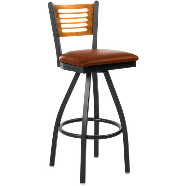 "BFM Seating 2151SLBV-NTSB Espy Sand Black Metal Bar Height Chair with Natural Wooden Back and 2"" Light Brown Vinyl Swivel Seat Main Image 1"