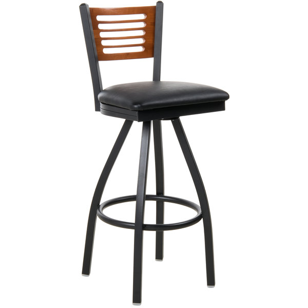 """BFM Seating 2151SBLV-CHSB Espy Sand Black Metal Bar Height Chair with Cherry Wooden Back and 2"""" Black Vinyl Swivel Seat Main Image 1"""