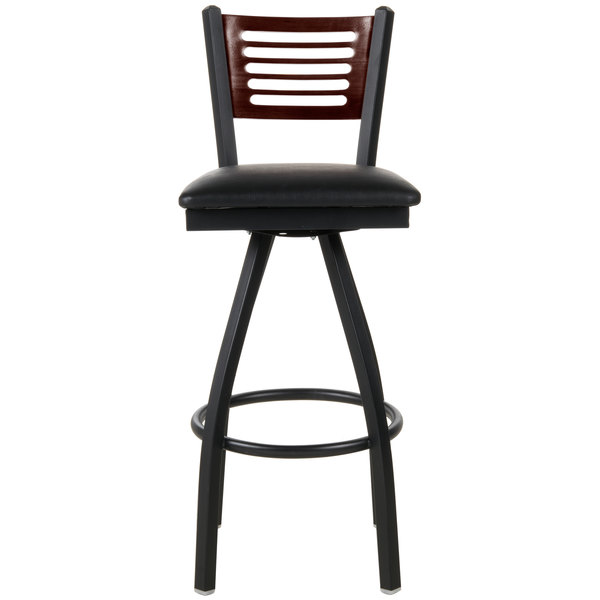 """BFM Seating 2151SBLV-WASB Espy Sand Black Metal Bar Height Chair with Walnut Wooden Back and 2"""" Black Vinyl Swivel Seat"""