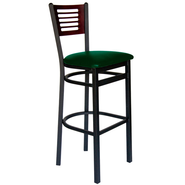 "BFM Seating 2151BGNV-MHSB Espy Sand Black Metal Bar Height Chair with Mahogany Wooden Back and 2"" Green Vinyl Seat Main Image 1"