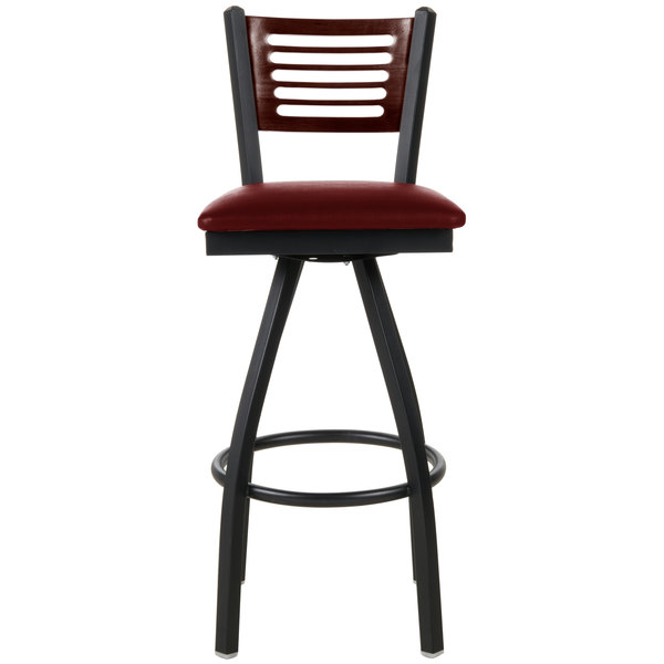 "BFM Seating 2151SBUV-WASB Espy Sand Black Metal Bar Height Chair with Walnut Wooden Back and 2"" Burgundy Vinyl Swivel Seat"