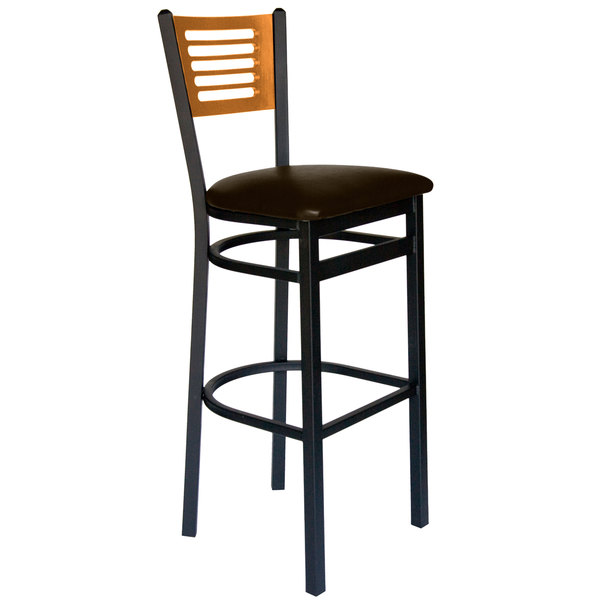 "BFM Seating 2151BDBV-NTSB Espy Sand Black Metal Bar Height Chair with Natural Wooden Back and 2"" Dark Brown Vinyl Seat Main Image 1"