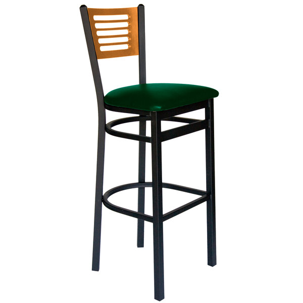 "BFM Seating 2151BGNV-NTSB Espy Sand Black Metal Bar Height Chair with Natural Wooden Back and 2"" Green Vinyl Seat Main Image 1"