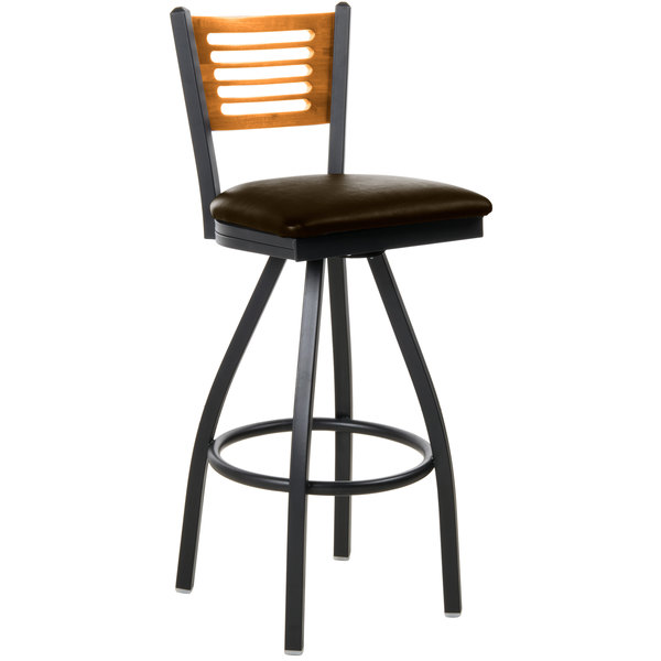 "BFM Seating 2151SDBV-NTSB Espy Sand Black Metal Bar Height Chair with Natural Wooden Back and 2"" Dark Brown Vinyl Swivel Seat"