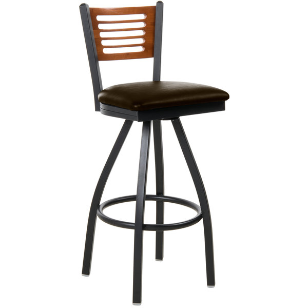 "BFM Seating 2151SDBV-CHSB Espy Sand Black Metal Bar Height Chair with Cherry Wooden Back and 2"" Dark Brown Vinyl Swivel Seat"
