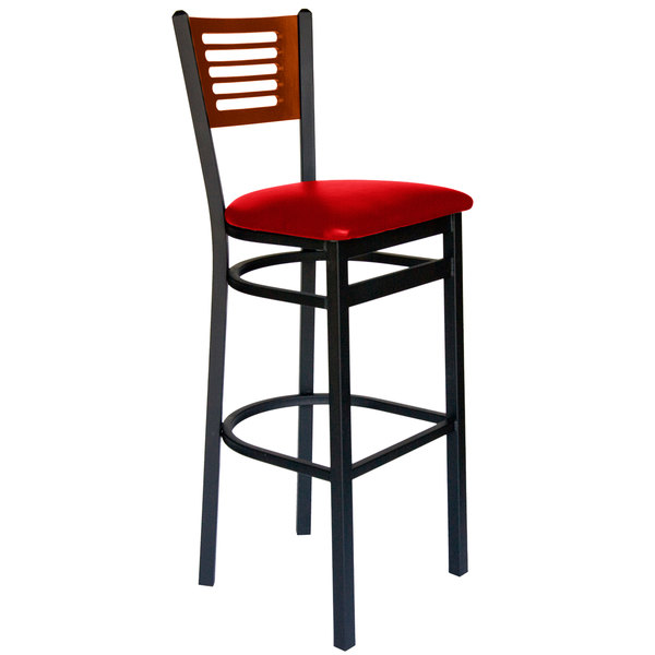 """BFM Seating 2151BRDV-CHSB Espy Sand Black Metal Bar Height Chair with Cherry Wooden Back and 2"""" Red Vinyl Seat Main Image 1"""
