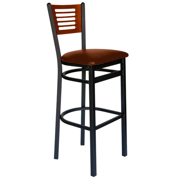 "BFM Seating 2151BLBV-CHSB Espy Sand Black Metal Bar Height Chair with Cherry Wooden Back and 2"" Light Brown Vinyl Seat"