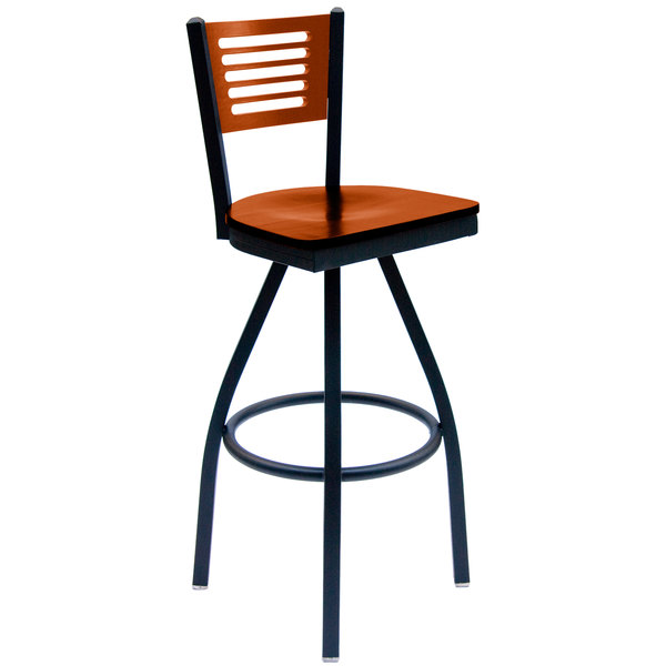 BFM Seating 2151SCHW-CHSB Espy Sand Black Metal Bar Height Chair with Cherry Wooden Back and Swivel Seat