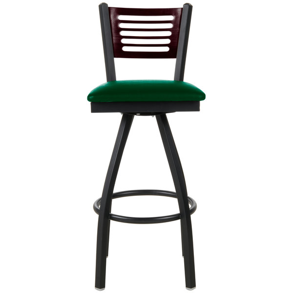 """BFM Seating 2151SGNV-MHSB Espy Sand Black Metal Bar Height Chair with Mahogany Wooden Back and 2"""" Green Vinyl Swivel Seat"""