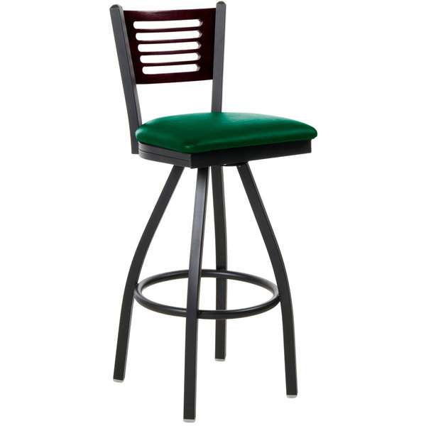 "BFM Seating 2151SGNV-MHSB Espy Sand Black Metal Bar Height Chair with Mahogany Wooden Back and 2"" Green Vinyl Swivel Seat Main Image 1"