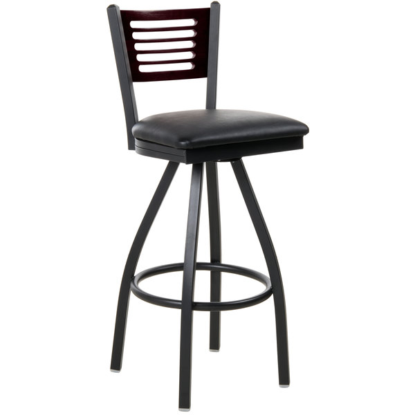 """BFM Seating 2151SBLV-MHSB Espy Sand Black Metal Bar Height Chair with Mahogany Wooden Back and 2"""" Black Vinyl Swivel Seat Main Image 1"""