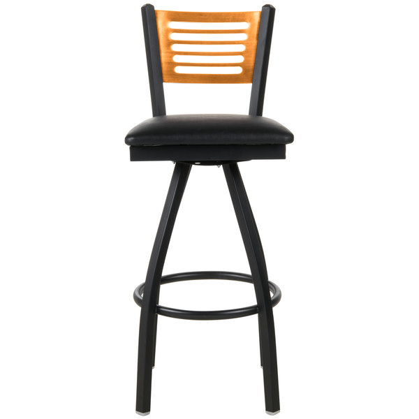 """BFM Seating 2151SBLV-NTSB Espy Sand Black Metal Bar Height Chair with Natural Wooden Back and 2"""" Black Vinyl Swivel Seat"""
