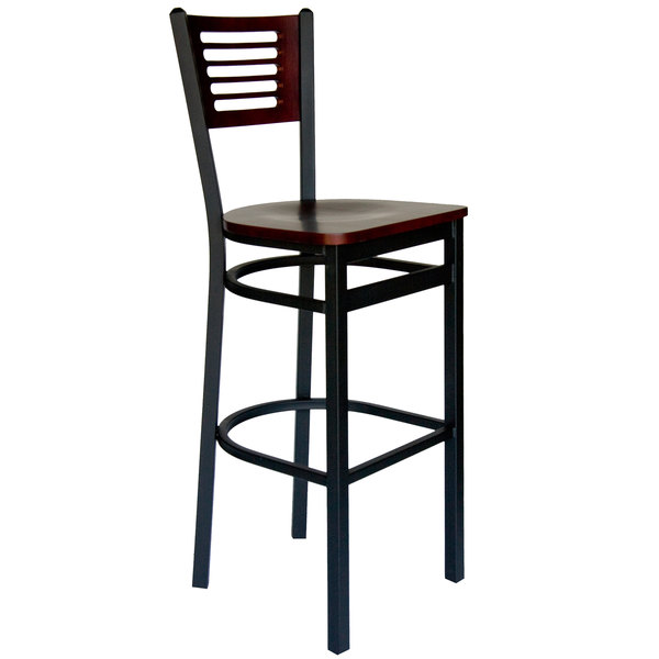 BFM Seating 2151BMHW-MHSB Espy Sand Black Metal Bar Height Chair with Mahogany Wooden Back and Seat