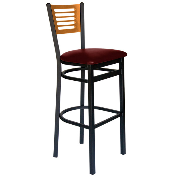 "BFM Seating 2151BBUV-NTSB Espy Sand Black Metal Bar Height Chair with Natural Wooden Back and 2"" Burgundy Vinyl Seat Main Image 1"