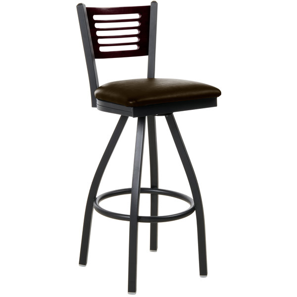 "BFM Seating 2151SDBV-MHSB Espy Sand Black Metal Bar Height Chair with Mahogany Wooden Back and 2"" Dark Brown Vinyl Swivel Seat"