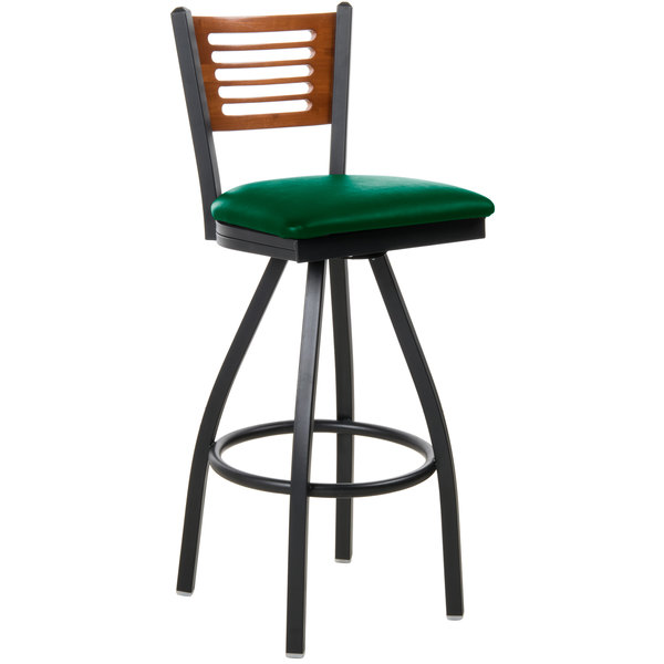 "BFM Seating 2151SGNV-CHSB Espy Sand Black Metal Bar Height Chair with Cherry Wooden Back and 2"" Green Vinyl Swivel Seat"