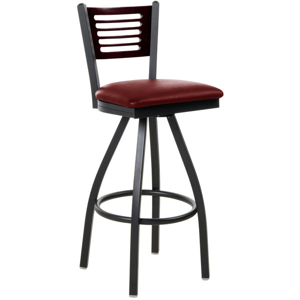 "BFM Seating 2151SBUV-MHSB Espy Sand Black Metal Bar Height Chair with Mahogany Wooden Back and 2"" Burgundy Vinyl Swivel Seat"